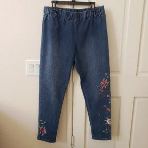 Soft Surroundings Embroidered Floral Jeans size XL
